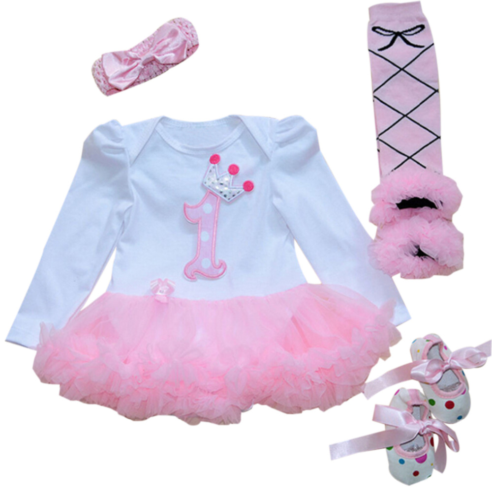 e8b0a3df74f3 4PCs per Set Baby Girl Crown Tutu Dress Infant 1st Birthday Party Outfit  Leg Warmers Shoes Headband