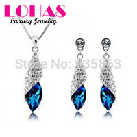 Brand Camellia Design Australian Crystals Rhinestone Necklace Earrings Luxury Gift For Christmas