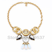 Free Shipping Cool Style Polished Gold Pendant Couple Necklaces