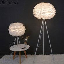 цены на Modern Feather Floor Lamps for Living Room Tripod Led Standing Lamp Bedroom Home Loft Decor Nordic E27 Light Fixtures Luminaire  в интернет-магазинах