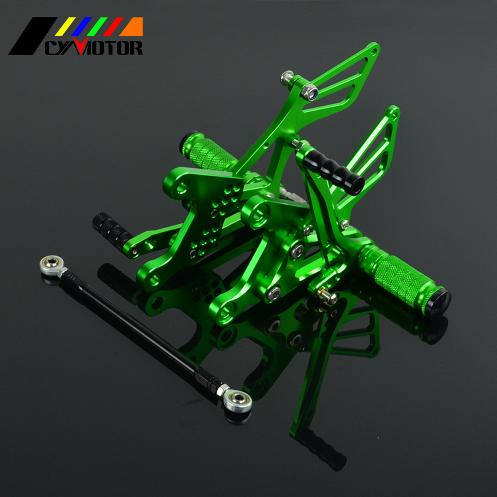 Motorcycle CNC Adjustable Foot Pegs Footpeg For KAWASAKI NINJA ZX6R ZX 6R ZX-6R 2005 2006 2007 2008 05 06 07 08 for kawasaki ninja zx6r zx 6r zx 6r zx636 2005 2006 cnc motorcycle frame sliders screw crash pad cover falling protector guard