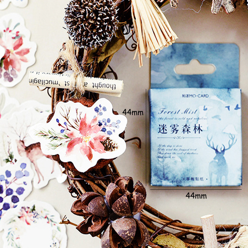 Купить с кэшбэком 46pcs/pack Forest Mist Series Paper Sticker Decoration Adhesive Scrapbook Sticky Label Bookmark For Student And Office Supply