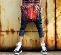 Moda de verão de Algodão Impressão Basculador Mulheres Estrela do Hip Hop Tigre Novidade Preto Harem Pants COOREENA Mulheres Tamanho Livre 909 #