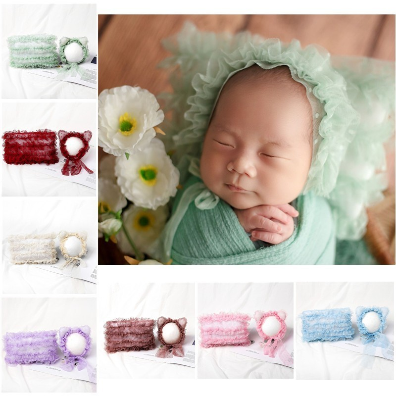 Fotografie Props Accessoires Baby Fotografie Kant Hoed + Kussen Set Baby Meisje Foto Prop Accessoire Studio Fotografia Hoeden