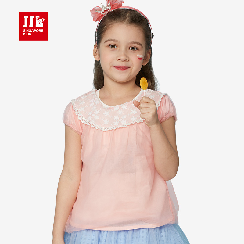 summer children's clothing girls' tees short sleeve t shirt for girls clothes children lace t shirt kids clothes 2016 brand family fashion summer tops 2015 clothers short sleeve t shirt stripe navy style shirt clothes for mother dad and children