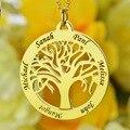 Ouro Colar de Árvore Genealógica Círculo Gravado Colar Nome Personalizado Mãe Mãe Colar de Jóias Presente para a Mãe de Família