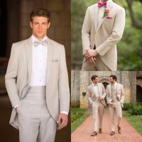 Latest Coat Pant Designs Beige Tailcoat Groom Formal Custom Wedding Suits For Men Slim Fit 2