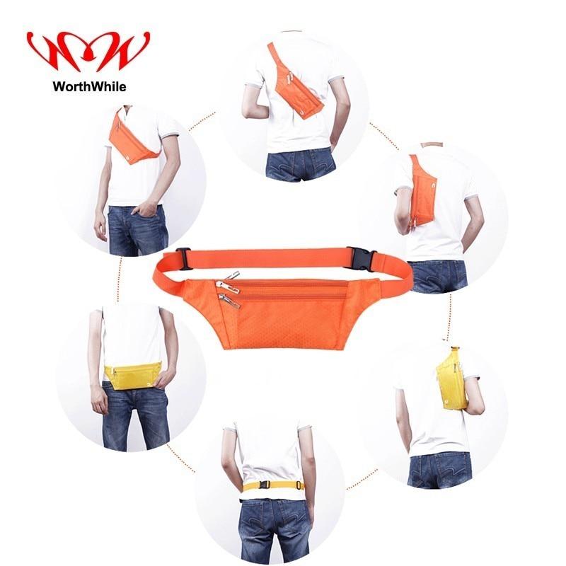 WorthWhile Multifunction Running Bag Men Women Waist Pack Belt Hiding Waterproof Pocket Case Outdoor Sport Camping Hiking