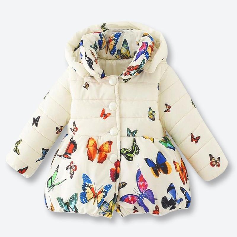 Kızlar Kış Coat Çocuklar Ceket çocuk Renk Kelebek Desen Fermuar Ceket Casual Kız Giyim Çıkarılabilir kapak ile 1-3 yıl