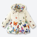 Girls Winter Coat Kids Coat Children's Color Butterfly Pattern Zipper Jacket Casual Girls Outerwear with Removable Cap 1-3 years