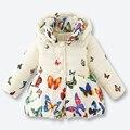 Meninas Casaco de Inverno Crianças Casaco infantil Borboleta Cor Padrão Zipper Jacket Casual Casacos Meninas com Tampa Removível 1-3 anos