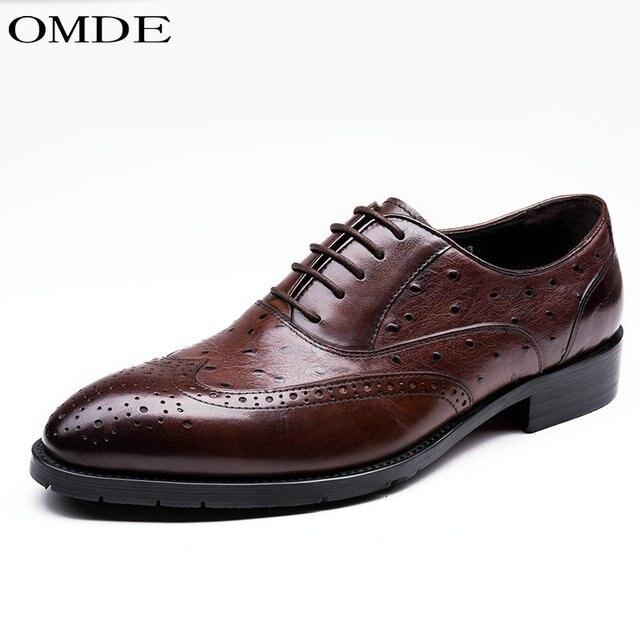 dfa48edeb1df29 OMDE chaussures hommes 2018 rouge noir véritable en cuir classique vintage  à lacets hommes chaussures d