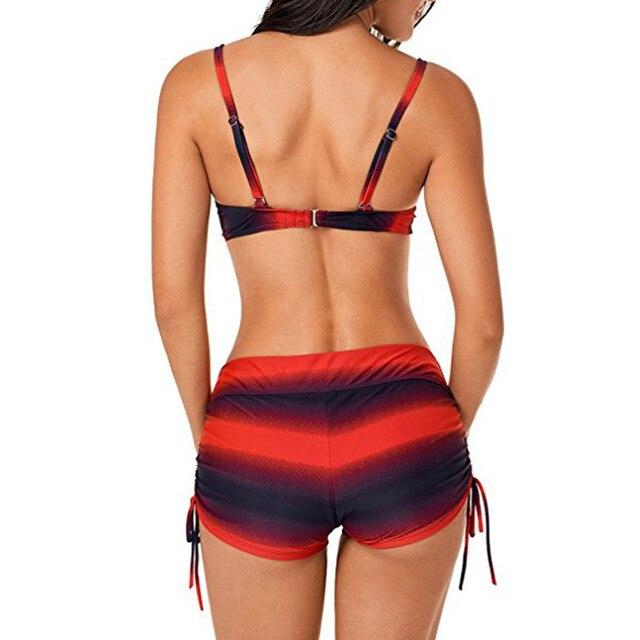 5XL Swimwear Women Large Size Bikini Set Brazilian Push Up Women Shorts Swimwear Big Chest Swimsuit Plus Size Print Swimsuit #5 5