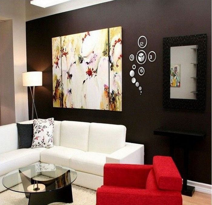 modern round style 3d wall clock diy home decoration
