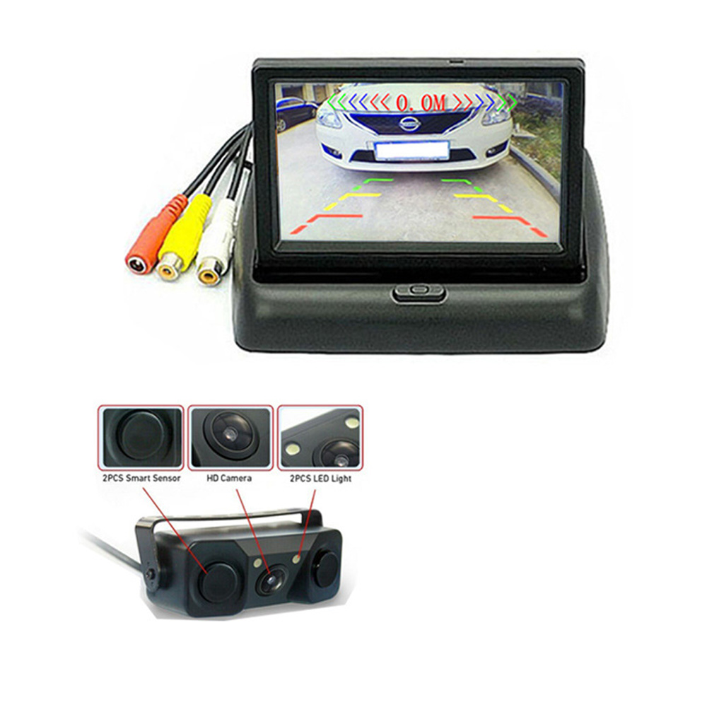 new car LCD Monitor + Rearview Camera Car Parking Sensor Kit 2 Sensors Buzzer Visual Reverse Radar Sound Alert Auto Assistance