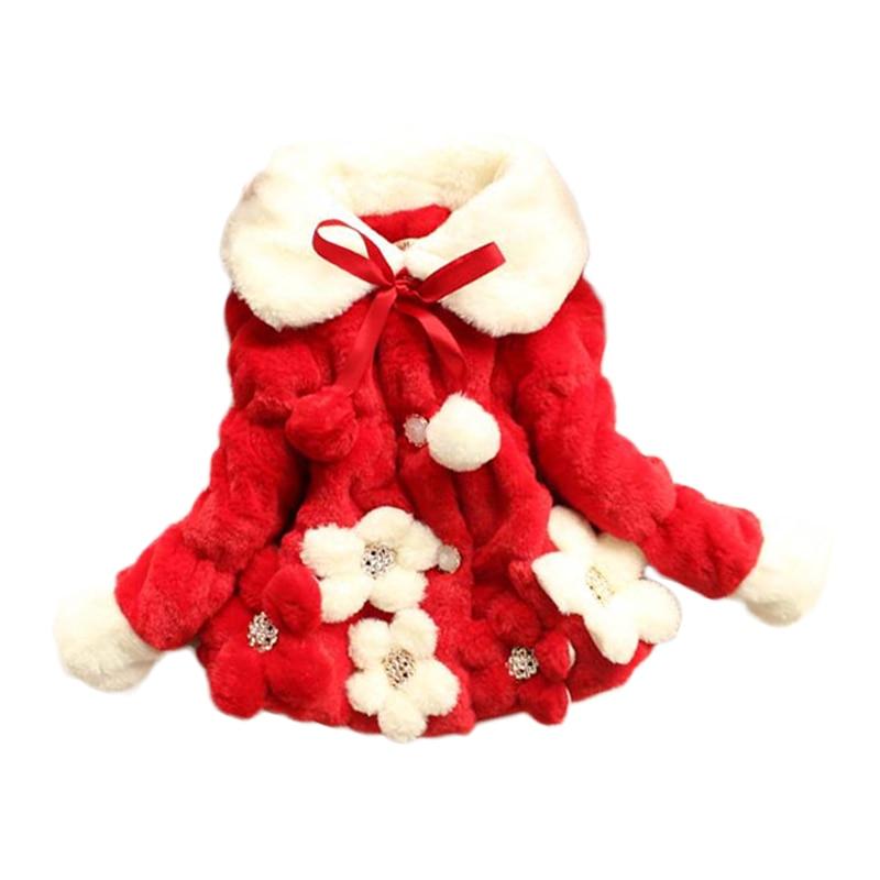 все цены на Winter Baby Girl Faux Fur Fleece Coat Children Flower Thicken Warm Jacket Xmas Pageant Party Snowsuit Outwear 1-5Y Bebe Clothes онлайн