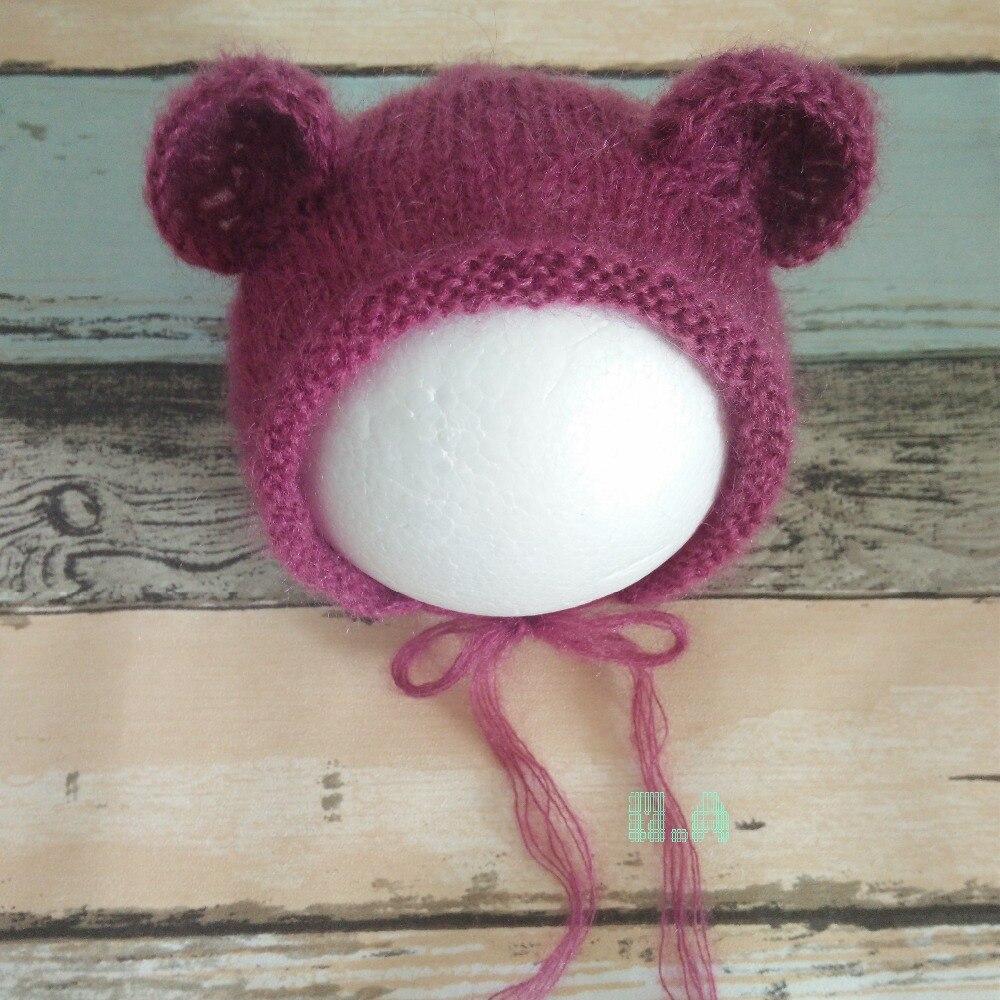 Новорожденных милый медведь шляпа для фотосессий, ручной медведь шапка бежевый серый белый мохер капот нейтральный Детские наряд для фотос...