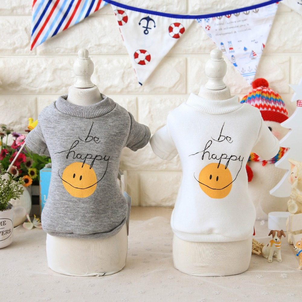 Smile Be happy Dog Hoodies Shirts Top Vest Shirt Teddy Yorkie Petstyle Clothes For Dog C ...