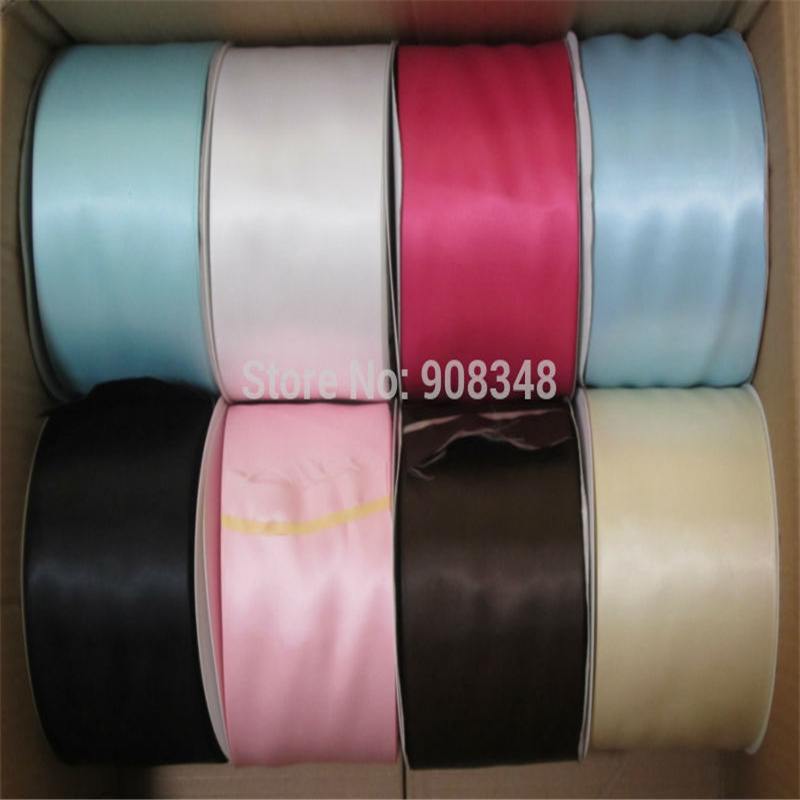 4 100mm Width 100 Polyester Double Faced Satin Ribbon Solid Color Wedding Ribbons 196 Colors SR100