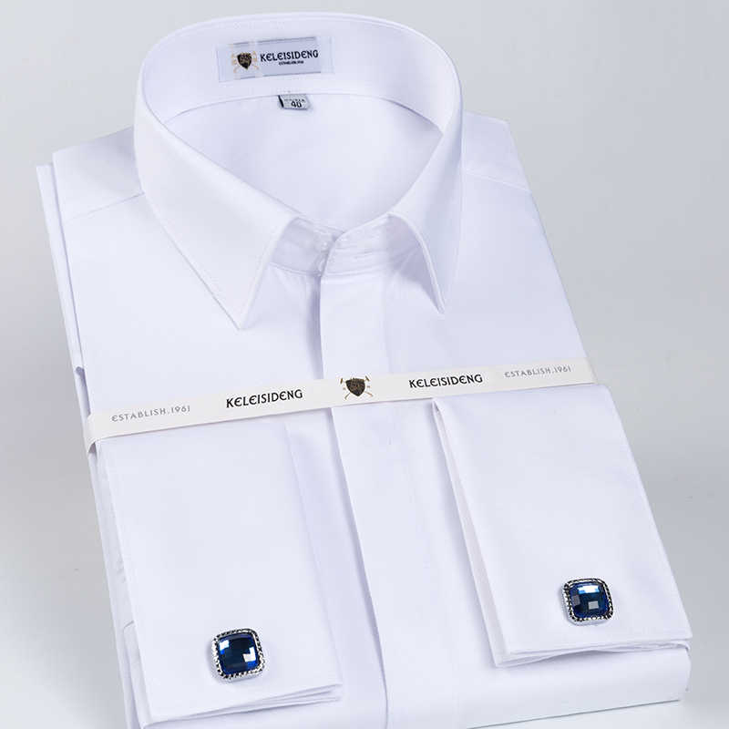 54ff00855fca5 Men's Solid White Slim Fit French Cuff Twill Dress Shirt with Covered  Placket Long SLeeve Formal Top Shirts (Cufflinks Included)
