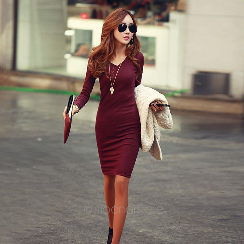 New Winter Fall Women Fashion V-Neck Long Sleeve Solid pencil Knit Dress Party autumn Sexy Slim Warm Bodycon dress M-XXL