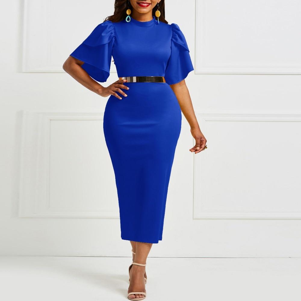 2cfc216576303 US $24.56 45% OFF Sisjuly Bodycon Dresses Women 2019 Summer Ruffles  Patchwork Vintage Elegant Sexy Office Lady Fashion Party Midi Blue Dress-in  ...