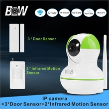 Surveillance WiFi Camera + 3 Door Sensor+ 2 Infrared Motion Sensor Alarm System P2P Wireless Security Camera Wi-fi BW12GR