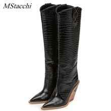 5c65b606ee MStacchi marca en relieve pista zapatos de mujer botas de vaquero punta  occidental botas de cuña