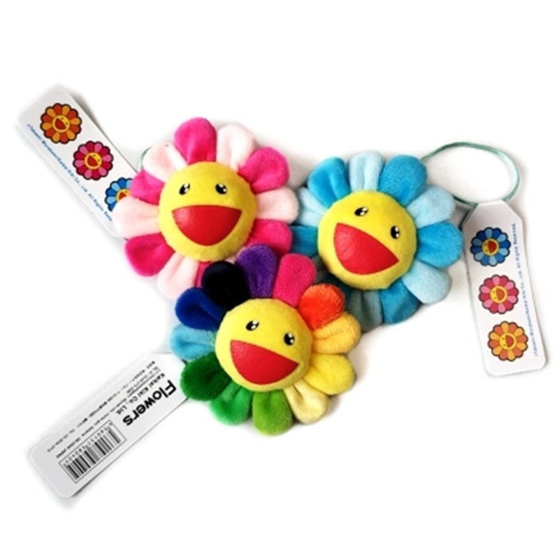 8.0cm Velvet Rainbow Sunflower  Japan Murakami Takashi Plush Flower Bag  Pendants Bag Accessories