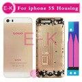 Высокое качество Для iPhone 5S Замена Жилищного Задняя Крышка Батареи Metal Назад Корпус Розовое Золото Серый Серебро Золото + аккумулятор стикер