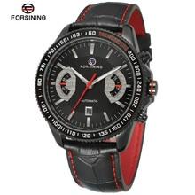Forsining Automático Relojes Hombres Marca de Lujo de Los Hombres Relojes Deportivos Reloj de pulsera de Cuero Mecánico Automático Reloj Relogios