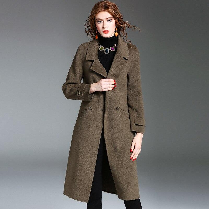 100 Face Et Mode Causalité Manteau Long De Picture D'hiver Color Femmes Double Laine Solide Nouvelles Longues Automne Manches À rgrxwtaqA