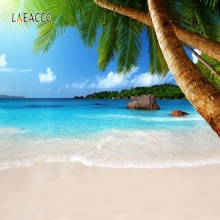 Laeacco Summer Seaside Blue Sky Starfish Backdrop Photocall Photography Background Customized Backdrops For Photo Studio