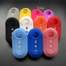 Zad caixa de capa de silicone para chave, conjunto de peças automotivas para fiat 500 3 botões acessórios do carro coloridos