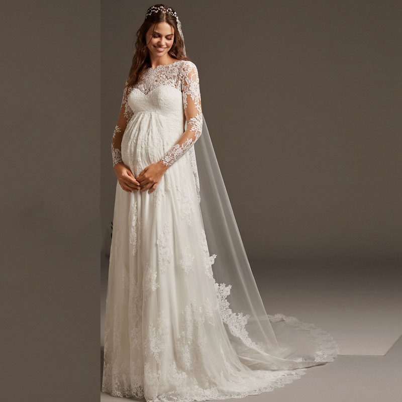 Eightree Aline Women Pregnant Wedding Dress O Neck Long Sleeves Bridal Gowns With Free Veil Backless Robe Court Train Plus Size