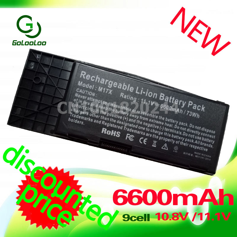 Golooloo 6600mah 9 Cell Laptop Battery For Dell Btyvoy1 For Alienware M17x R3 R4 Mx 17xr3 17xr4 318-0397 451-11817 7xc9n C0c5m Durable Service