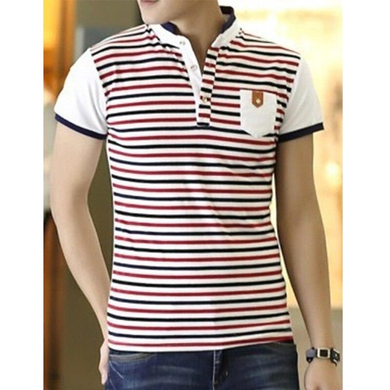 2018 Men   Polo   Shirt Summer Men Business Casual Breathable Striped Short Sleeve   Polo   Shirt Pure Cotton Work Clothes   Polos