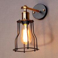 Amerikaanse Industriële Vintage Creatieve Retro Iron Wandlamp Loft Stijl Eenvoudige Kooi Badkamer Gangpad Decoratie Licht Gratis Verzending