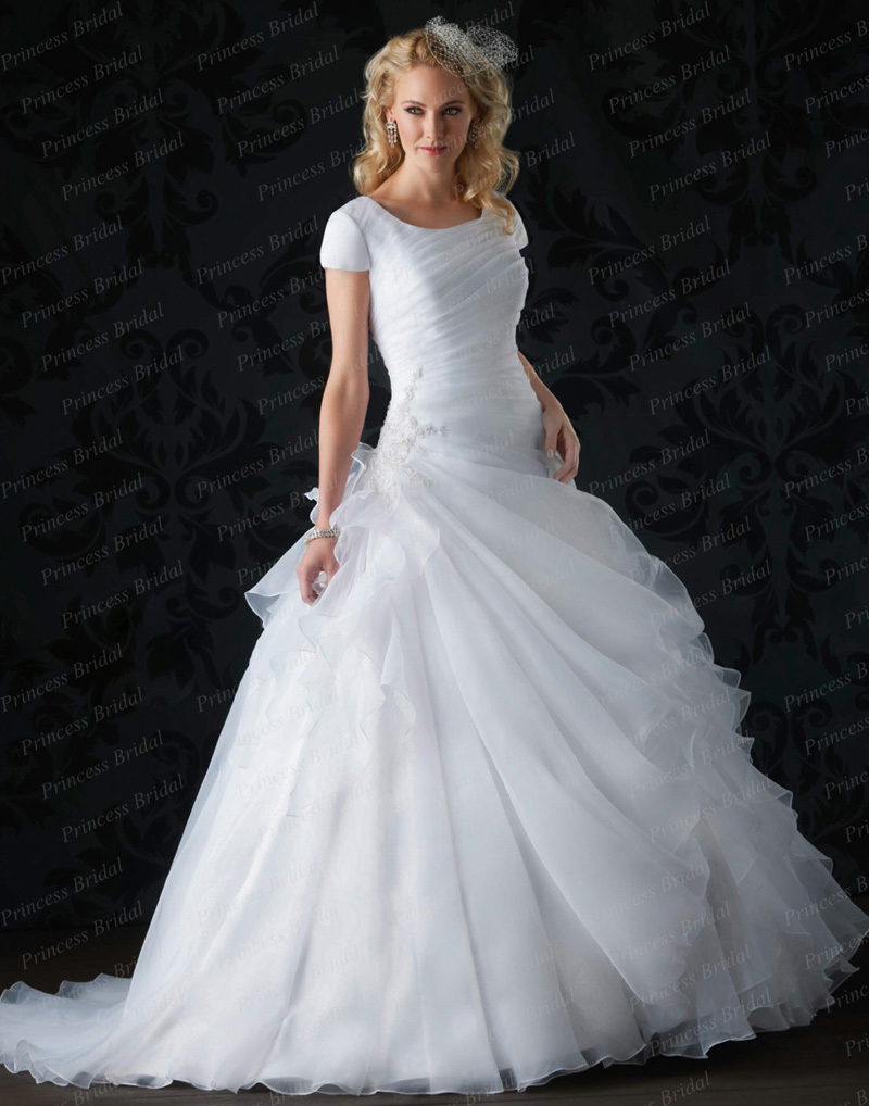 Free Shipping Fancy Ball Gown Puffy Scoop Lace Up Sweep Train Pleat Organza Bridal Gowns Indian With Cap Sleeve Bn358: Fancy Ball Dresses Wedding At Reisefeber.org