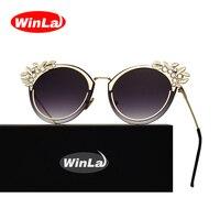 Winla Sunglasses Fashion Cat Eye Sunglasses Flower Crystal Diamond Frame Women Metal Frame High Quality Shades
