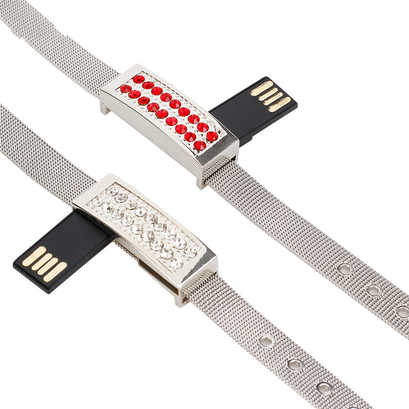 Image 2 - Metal Usb Flash Drive Wristbands Pen Drive 4gb 8gb 16gb 32gb 64gb 128gb Usb 2.0 Pendrive Jewelry Bracelet Flash Memory Drive-in USB Flash Drives from Computer & Office