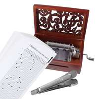 30 Tone DIY Hand Cranked Carved Music Box 30pcs Paper Tapes Vintage Wood Musical Movement music box Ornament With Hole Puncher
