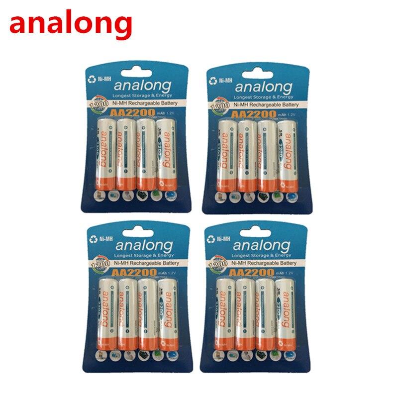 ANALONG Baterias Recarregáveis 1.2 V 2200 mAh AA Ni-MH Bateria Recarregável Pré-carregada 2A Baterias para Baterias Da Câmera