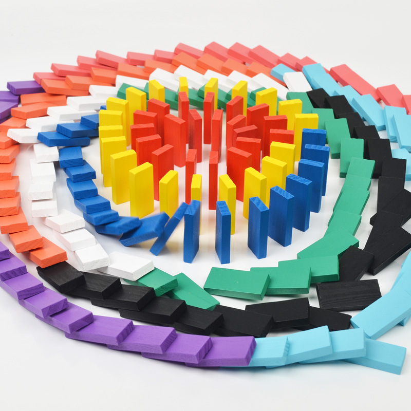 200Pcs/Set Rainbow Colored Wooden Kids Toy Children Game Play Toys Dominoes Games Education Birthday Gift Building Toy Blocks
