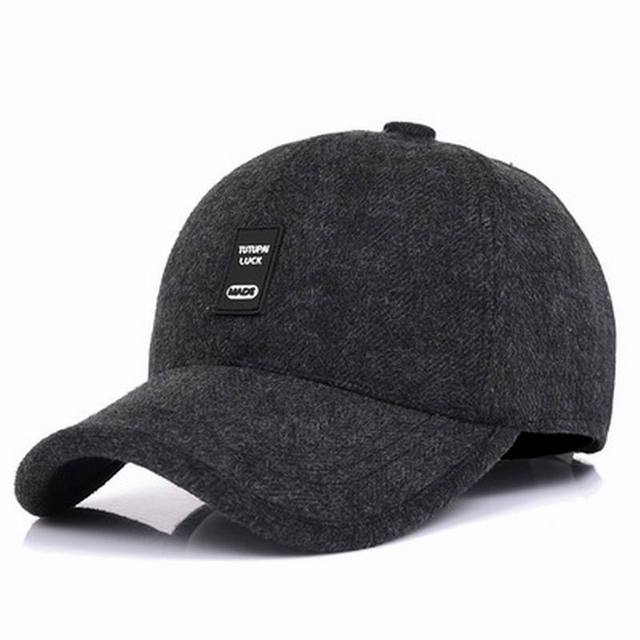 2a7f22d3c7a Man Autumn Visor Cold Winter Keep Warm Baseball Cap Thick Winter Male Visor  Adjustable Ear Protection