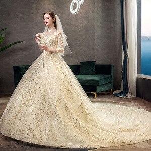 Image 3 - 2021 חדש זהב יוקרה ארוך רכבת גבוהה צוואר מלא שרוול תחרת Applique הניצוץ בתוספת גודל כלה שמלת Robe דה Mariee L