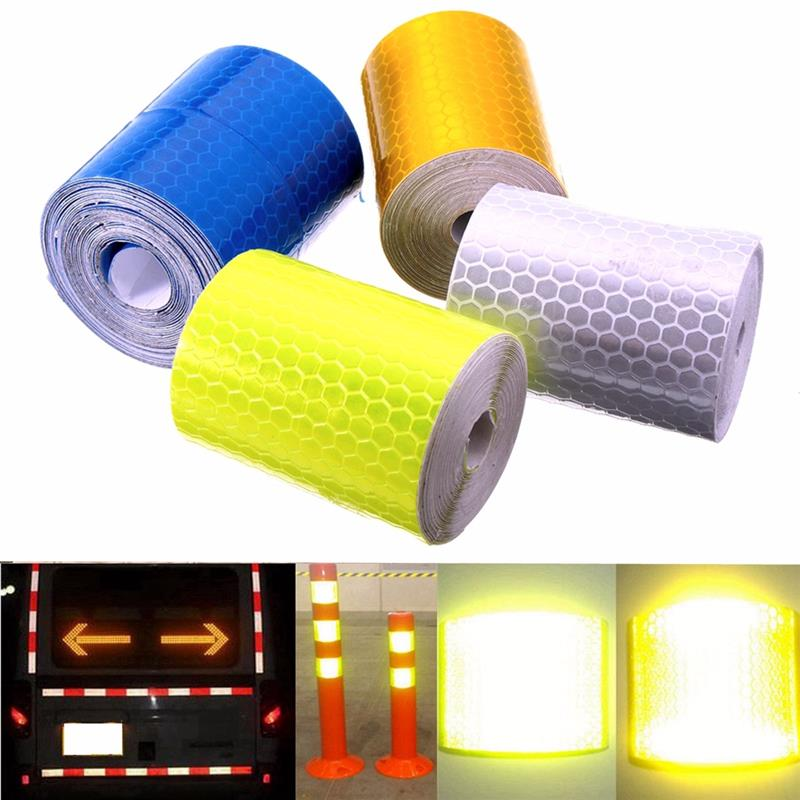 5cmx3m Colorful Smooth Surface Water Resistance Reflective Safety Warning Conspicuity Tape Film Sticker For Road Caution