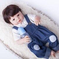 55 cm Volledige Siliconen Reborn Baby Boy Pop Speelgoed Als Echte Vinyl Pasgeboren Baby Bebe Reborn Pop Met Magneet Mond Meisjes Bonecas