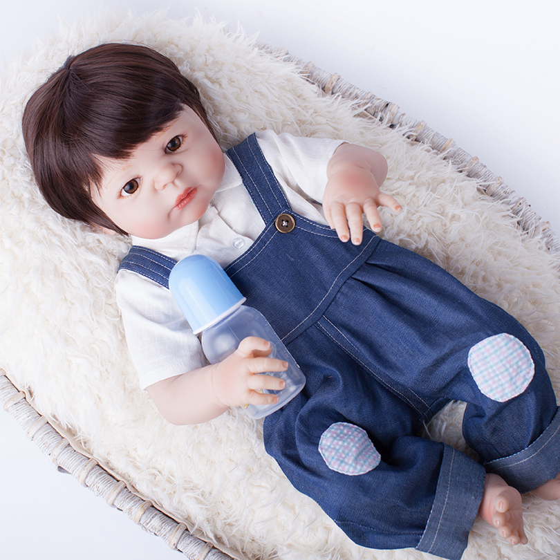 55cm Full Silicone Reborn Baby Boy Doll Toy Like Real Vinyl Newborn Babies Bebe Reborn Doll With Magnet Mouth Girls Bonecas npk 55cm silicone reborn baby boy doll toy like real full silicone body newborn babies doll bebe reborn bonecas girls gift