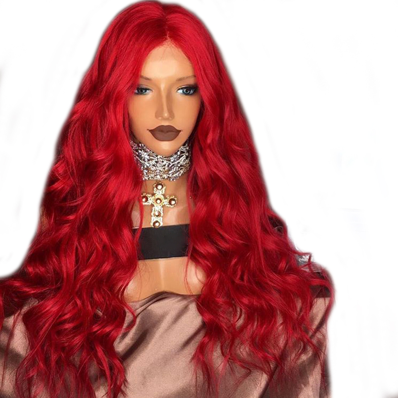 DLME Long Body Wave Red Wig Synthetic Lace Front Wigs Heat Resistant Hair With Free Part For Black White Women Natural Hairline